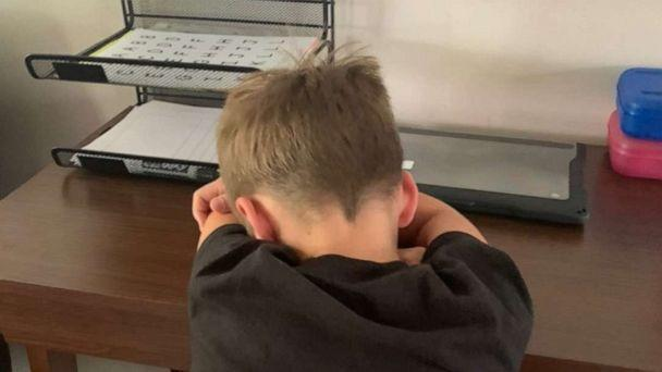 PHOTO: Christine Derengowski, a writer from Grand Blanc, Michigan, shared with her followers the unique perspective she said she gave her 7-year-old son when he was recently struggling with an assignment while online learning. (Christine Derengowski)