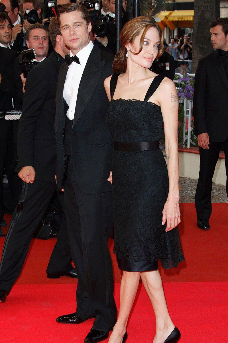 <p>Angelina Jolie looked demure in a black lace dress at the Cannes Film Festival with Brad Pitt. </p>