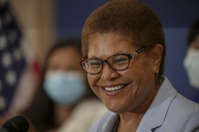 Los Angeles, CA - July 15: Congresswoman Karen Bass talks about the expanded Child Tax Credit at a press conference held at Barrio Action Youth and Family Center on Thursday, July 15, 2021 in Los Angeles, CA. (Irfan Khan / Los Angeles Times)