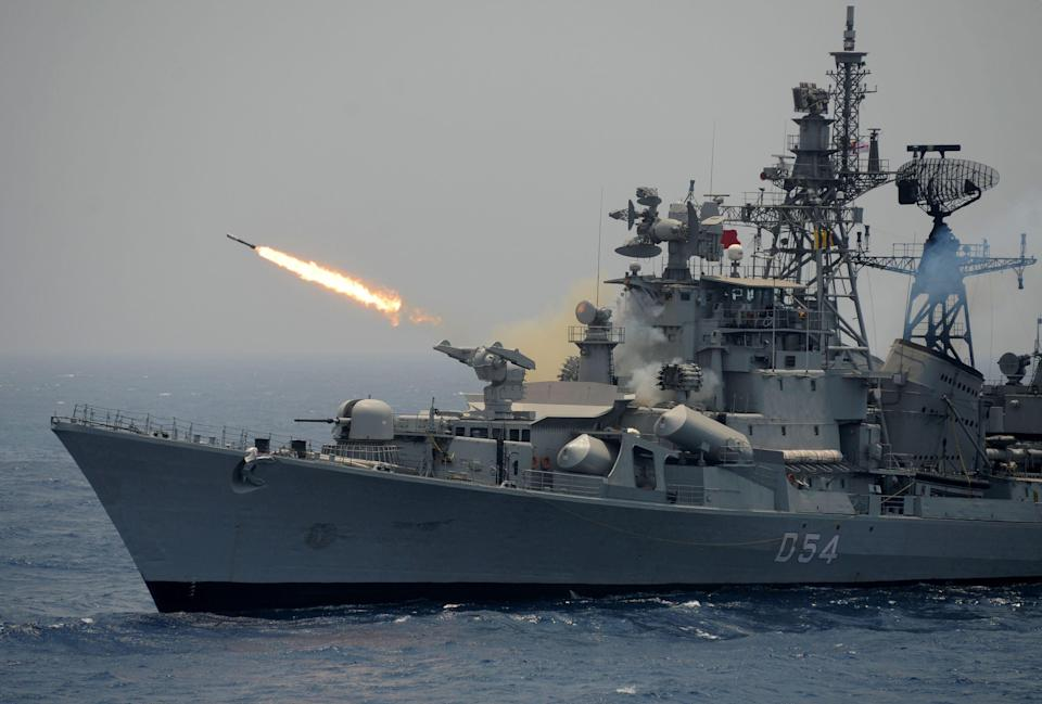 File: A rocket is fired from the Indian Navy destroyer ship INS Ranvir during an exercise drill in the Bay Of Bengal (AFP via Getty Images)