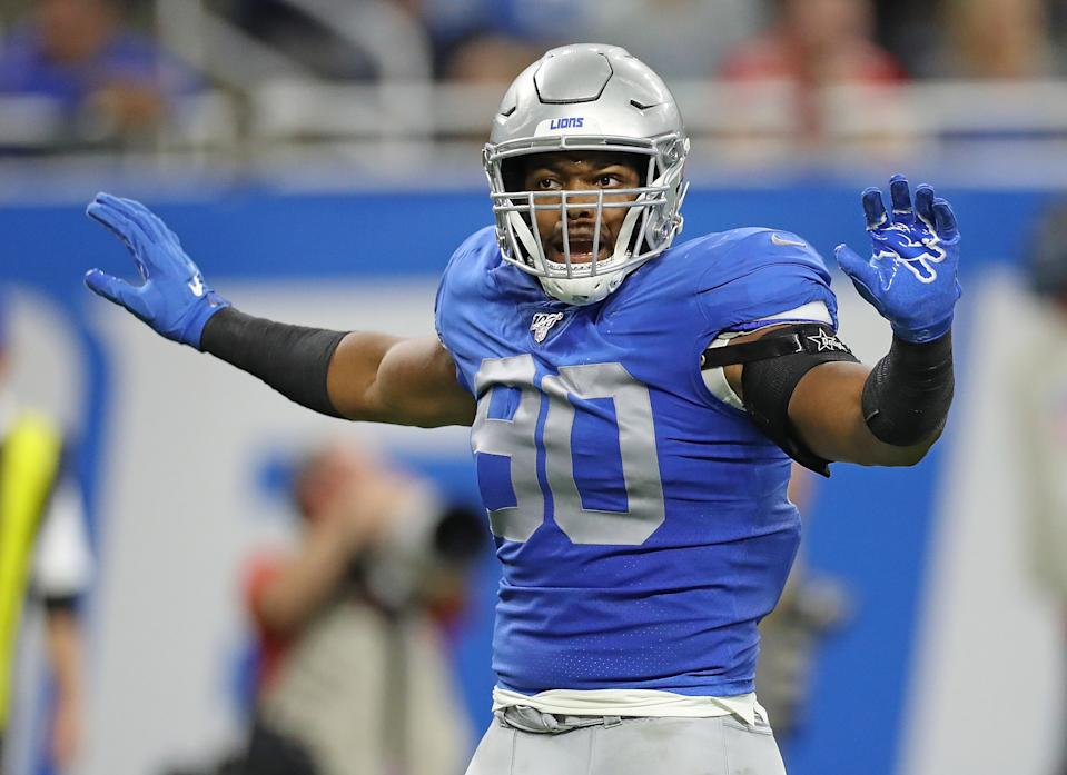 DETROIT, MI - SEPTEMBER 29: Trey Flowers #90 of the Detroit Lions reacts to a third down stop during the game against the Kansas City Chiefs at Ford Field on September 29, 2019 in Detroit, Michigan. Kansas City defeated Detroit 34-30. (Photo by Leon Halip/Getty Images)
