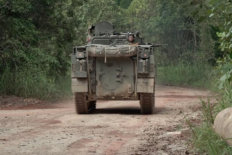 Among the new safety measures are rear view cameras and more emergency horns for the SAF's Bionix armoured vehicles. (PHOTO: Mindef)