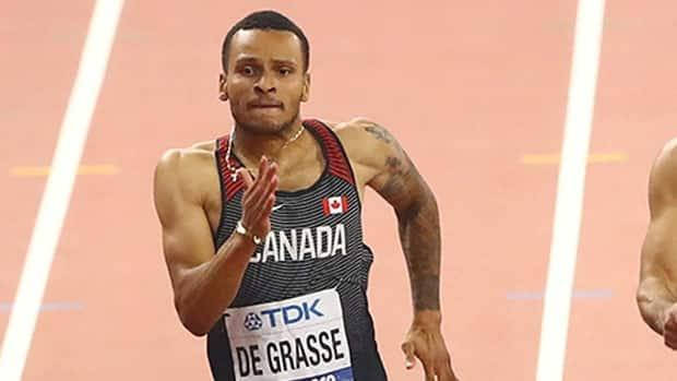 Canadian sprinter Andre De Grasse, coming off a season-opening 9.99-second performance in the 100 metres, will look to lower his time Friday at 4 p.m. ET at the University of North Florida. (Ahmed Jadallah/Reuters/File - image credit)