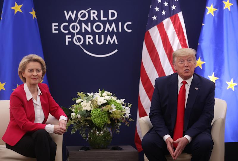 U.S. President Donald Trump speaks dutring a bilateral meeting with European Commission President Ursula von der Leyen during the 50th World Economic Forum (WEF) annual meeting in Davos, Switzerland, January 21, 2020. REUTERS/Jonathan Ernst