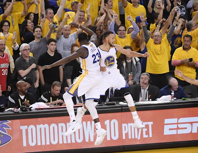 <p>Golden State Warriors guard Stephen Curry (30) celebrates with forward Draymond Green (23) in the fourth quarter against the Cleveland Cavaliers in game five of the 2017 NBA Finals at Oracle Arena. Mandatory Credit: Kyle Terada-USA TODAY Sports </p>