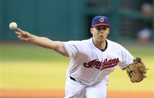 Cleveland Indians starting pitcher Justin Masterson throws in the first inning in a baseball game against the Los Angeles Angels, Friday, April 27, 2012, in Cleveland. (AP Photo/Tony Dejak)
