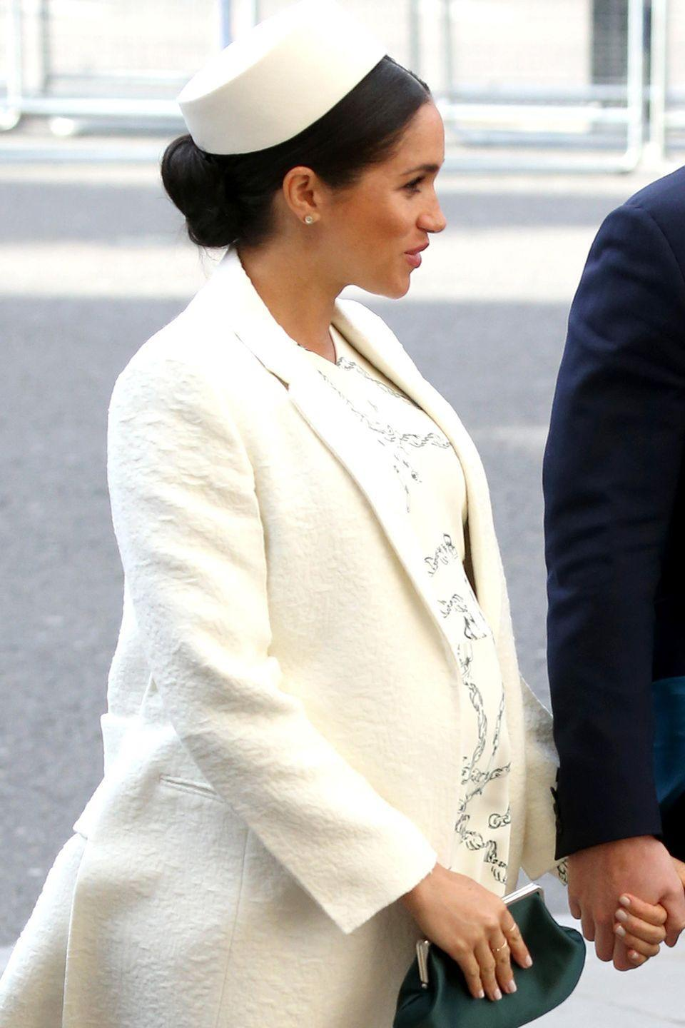 <p>On her second-to-last appearance before maternity leave (being 8 months pregnant didn't seem to stifle the work ethic in Meghan Markle all that much) the Duchess of Sussex wore a white dress that skimmed over her nearly-fully-sized baby.</p><p>Meghan was looking just about as pregnant as a woman can get, at nearly full term, so goodness knows how she's feeling now, more than a month later...</p>