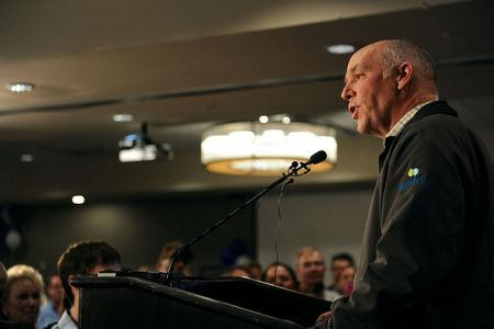 Representative elect Greg Gianforte delivers his victory speech during a special congressional election called after former Rep. Ryan Zinke was appointed to lead the Interior Department, in Bozeman, Montana, U.S., May 25, 2017. REUTERS/Colter Peterson