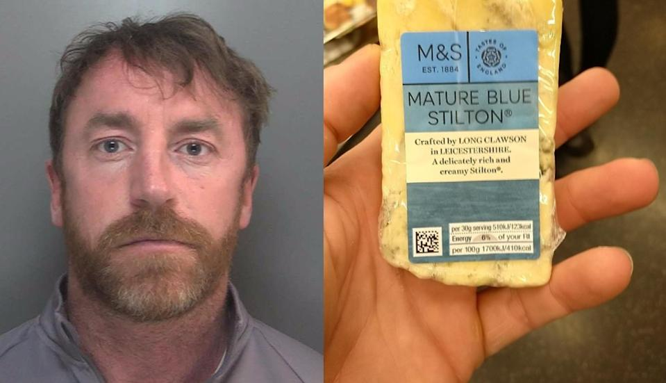 Carl Stewart was identified after sharing an image of a block of cheese in the palm of his hand. (Police)