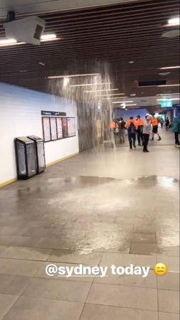 A ceiling leaks at Town Hall Railway Station during heavy rains in Sydney, New South Wales, Australia November 28, 2018 in this still image taken from a video obtained from social media. Bronwyn McDonald/via REUTERS