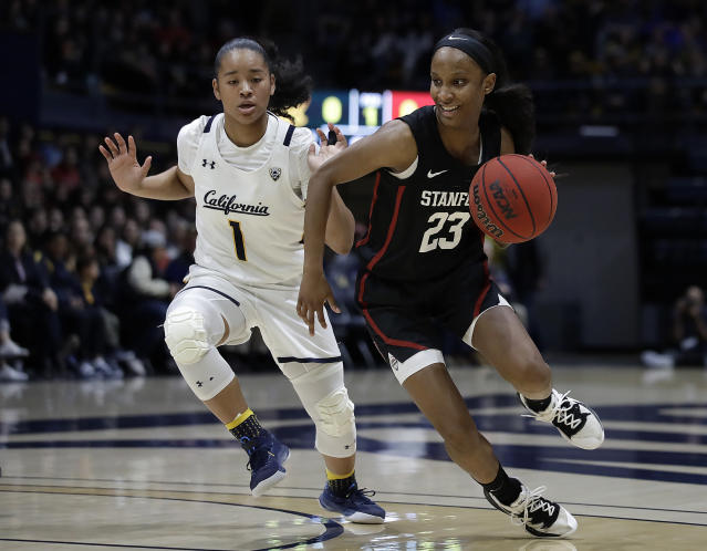 Stanford's Kiana Williams, right, drives the ball past California's Leilani McIntosh (1) in the first half of an NCAA college basketball game Sunday, Jan. 12, 2020, in Berkeley, Calif. (AP Photo/Ben Margot)