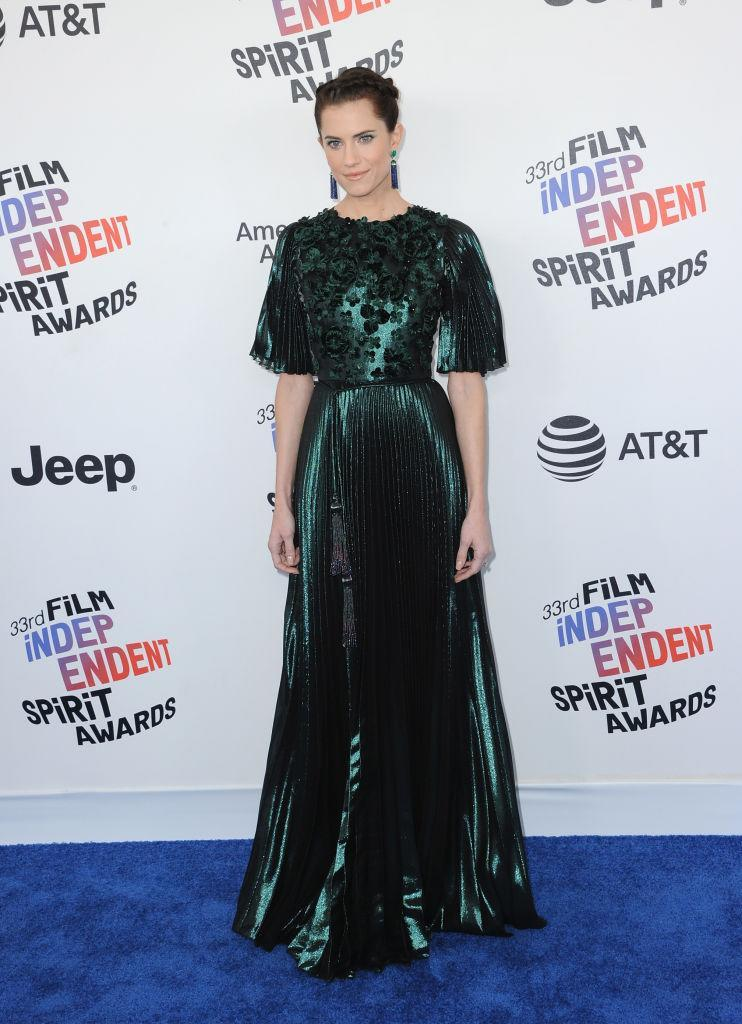 <p>The <em>Get Out</em> star brought all eyes to her face in a shimmering green gown and statement earrings. (Photo: Getty Images) </p>