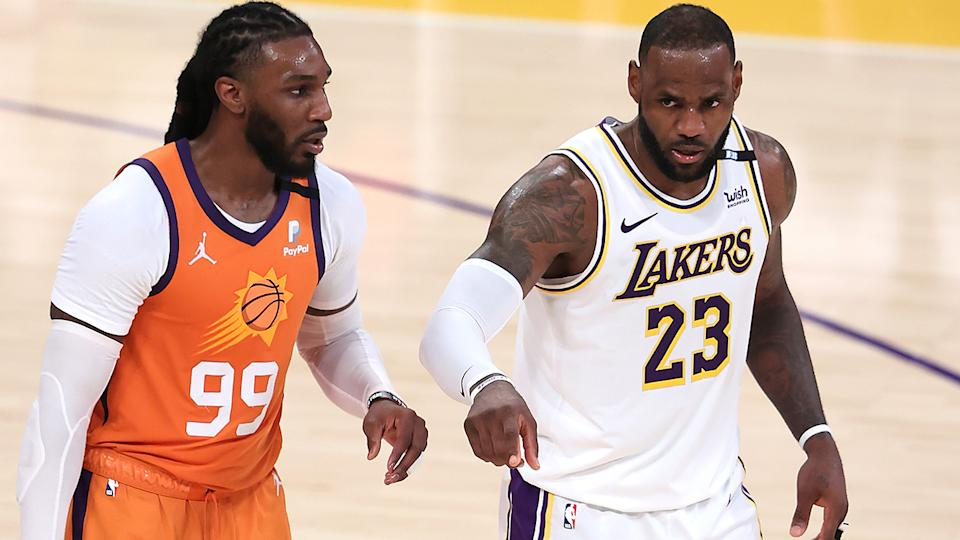 Jae Crowder and LeBron James, pictured here during Game 4 of the Western Conference first-round playoff series.