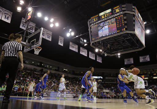 Notre Dame guard Skylar Diggins, right, drives to the basket during the second half of a regional semi-final of an NCAA college basketball tournament Sunday March 31, 2013 in Norfolk, Va. Notre Dame won 93-63. (AP Photo/Steve Helber)