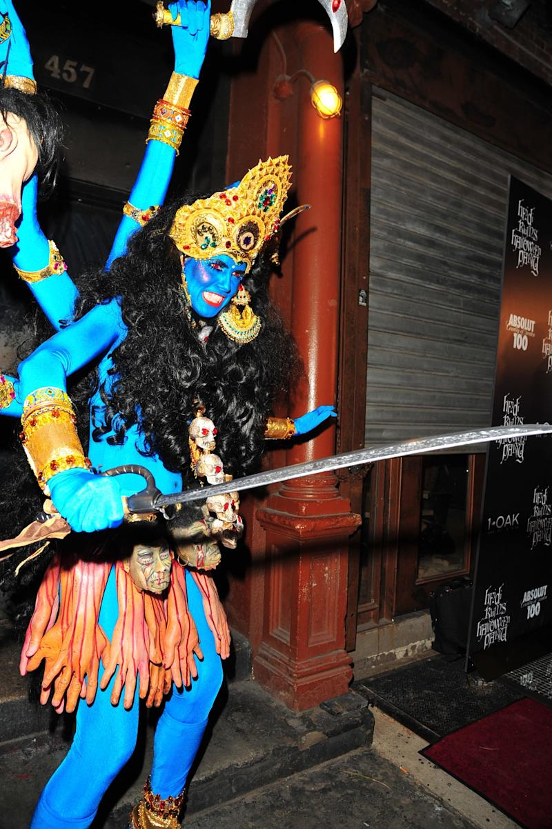 Heidi Klum as Kali, the Hindu goddess of of death, at her own party at 1 OAK N.Y.C. on October 31, 2008. Photo courtesy of Getty Images.