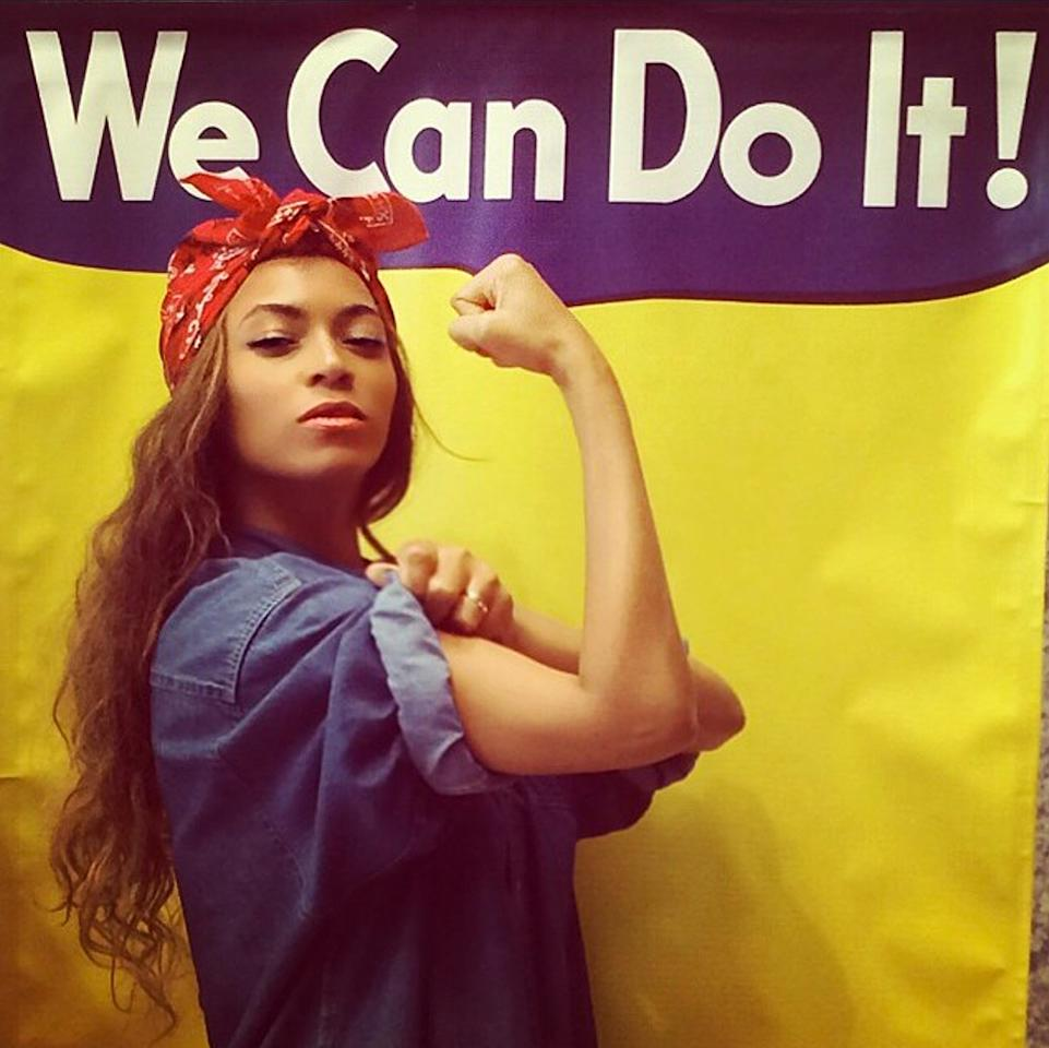 Leave it to Bey to show us an all new way to flaunt our love for our fellow country(wo)men, giving her take on this classic Rosie the Riveter look.