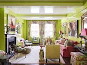 "<p>Glossy apple green-lacquered walls provide a jubilant backdrop to lively printed fabrics and a riotous mix of color in a Manhattan living room by designer <a href=""https://www.woolworthandwoolworth.com"" rel=""nofollow noopener"" target=""_blank"" data-ylk=""slk:Chiqui Woolworth"" class=""link rapid-noclick-resp"">Chiqui Woolworth</a>. The dragon-print curtains are in a <a href=""https://www.jimthompsonfabrics.com/collections/no9"" rel=""nofollow noopener"" target=""_blank"" data-ylk=""slk:Jim Thompson No. 9"" class=""link rapid-noclick-resp"">Jim Thompson No. 9</a> linen. </p><p><a class=""link rapid-noclick-resp"" href=""https://www.benjaminmoore.com/en-us/color-overview/find-your-color/color/396/chic-lime?color=396&source=%2Fen-us%2Fcolor-overview%2Ffind-your-color%2Fcolor-families%2Fgre%2Fgreen"" rel=""nofollow noopener"" target=""_blank"" data-ylk=""slk:Get the Look"">Get the Look</a></p>"