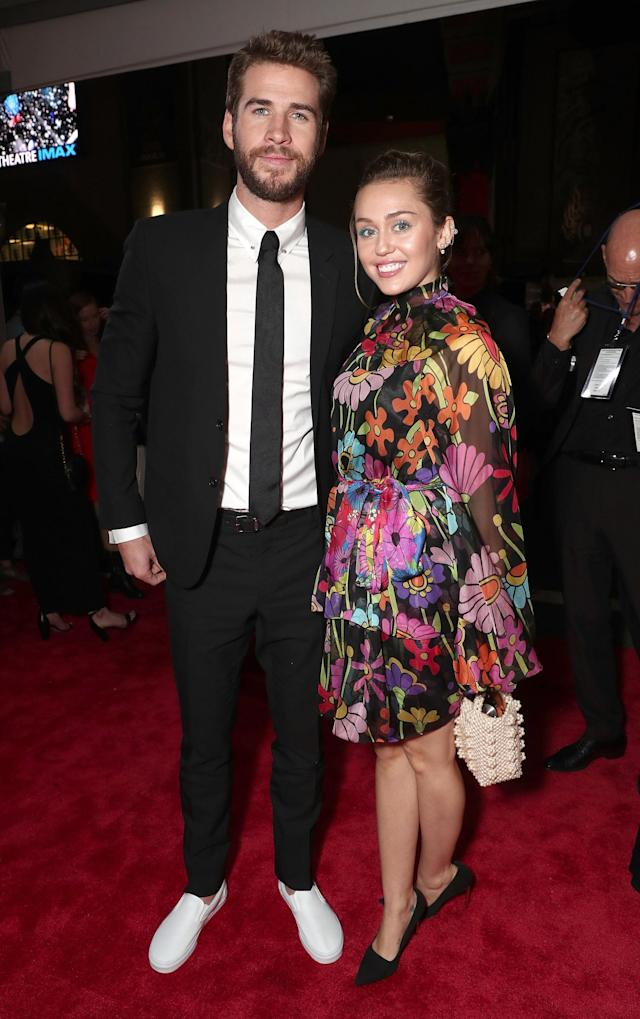 Liam Hemsworth and Miley Cyrus attend the premiere of Disney and Marvel's <i>Thor: Ragnarok</i> in L.A. on Oct. 10. (Photo: Getty Images)