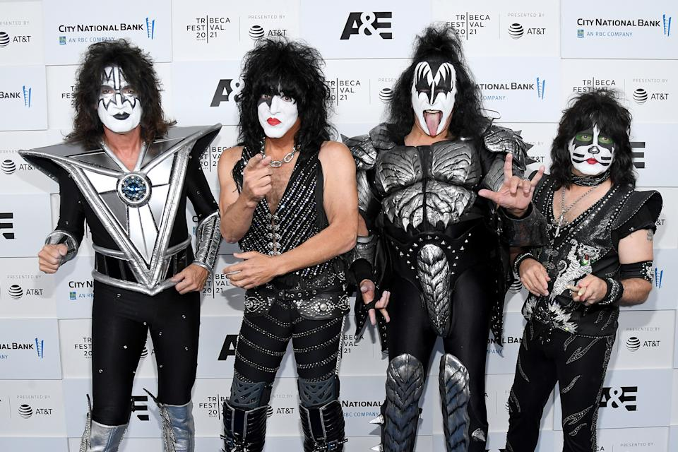 NEW YORK, NEW YORK - JUNE 11: (L-R) Tommy Thayer, Paul Stanley, Gene Simmons, and Eric Singer of KISS attend the Tribeca Festival screening of
