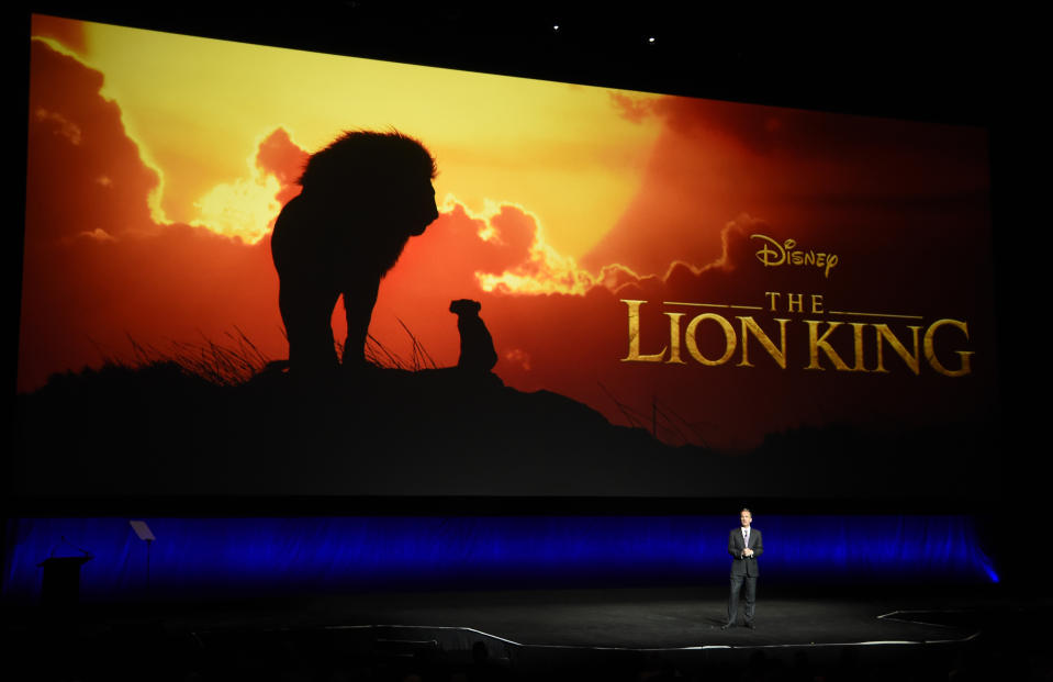 "Sean Bailey, president of Walt Disney Studios Motion Picture Production, discusses the upcoming live-action film ""The Lion King"" during the Walt Disney Studios Motion Pictures presentation at CinemaCon 2019, the official convention of the National Association of Theatre Owners (NATO) at Caesars Palace, Wednesday, April 3, 2019, in Las Vegas. (Photo by Chris Pizzello/Invision/AP)"