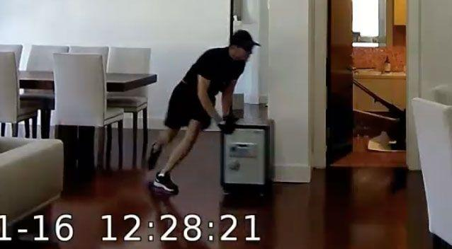 The man darts through the home after discovering a safe. Source: Victoria Police
