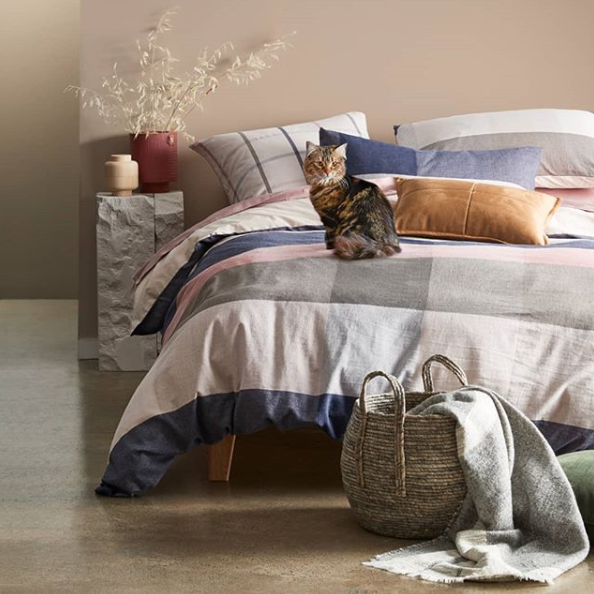 The Bellamy Check Quilt Cover Set, from $59. Photo: Target.