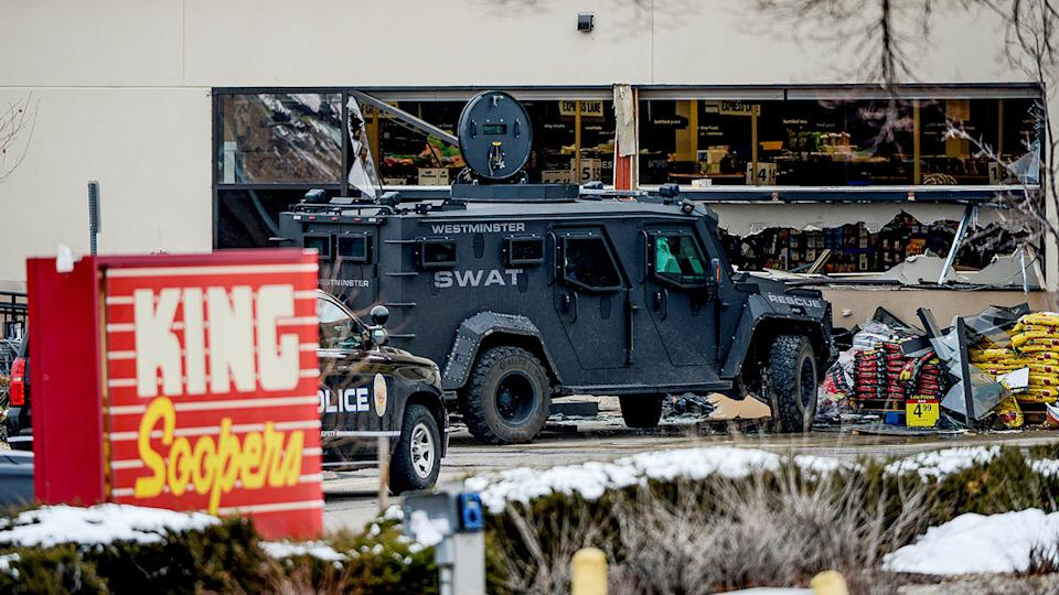 Emergency crews respond to a call of an active shooter at the King Soopers grocery store in Boulder, Colo., on Monday. (Michael Ciaglo/USA Today Network via Reuters)