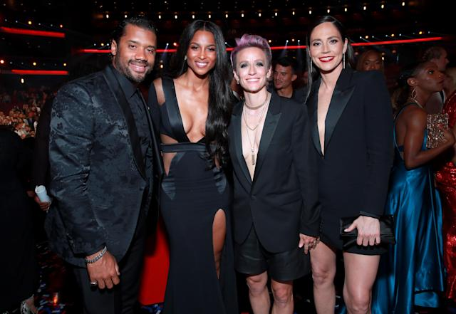 LOS ANGELES, CALIFORNIA - JULY 10: (L-R) Russell Wilson, Ciara, Megan Rapinoe, and Sue Bird attend The 2019 ESPYs at Microsoft Theater on July 10, 2019 in Los Angeles, California. (Photo by Rich Fury/Getty Images)