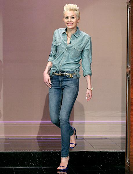 "Miley Cyrus' Denim on Denim Look on ""The Tonight Show with Jay Leno:"" So Hot or So Not?"