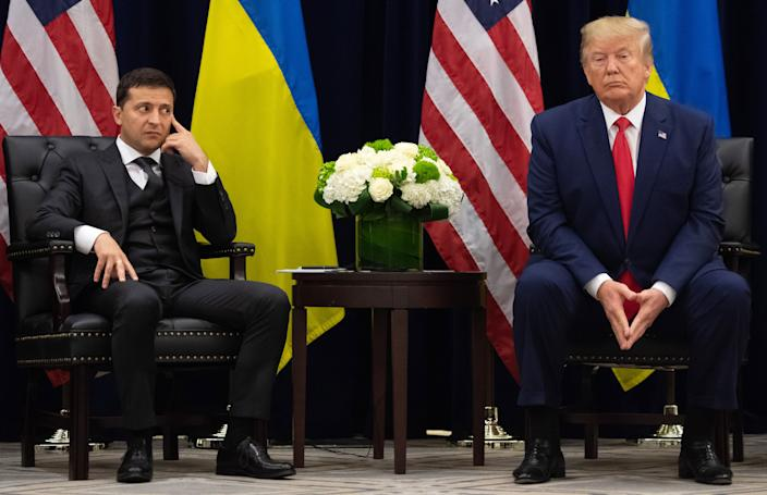 President Trump with Ukrainian President Volodymyr Zelensky. (Photo: Saul Loeb/AFP via Getty Images)