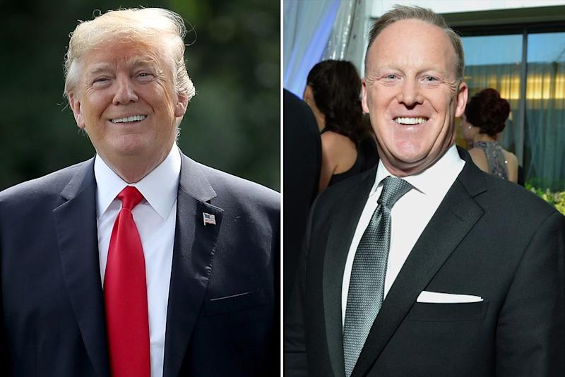President Donald Trump and Sean Spicer | Shannon Finney/Getty Images; Win McNamee/Getty Images