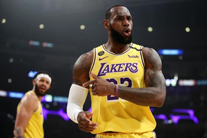 """LeBron James says players will need a week or two of training before resuming games once the NBA is cleared to continue its season. <span class=""""copyright"""">(Katelyn Mulcahy / Getty Images)</span>"""