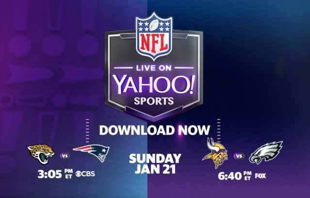 This postseason, there's a new player in the playoffs. Watch the AFC and NFC Championship games – and Super Bowl LII – live on the Yahoo Sports mobile app.