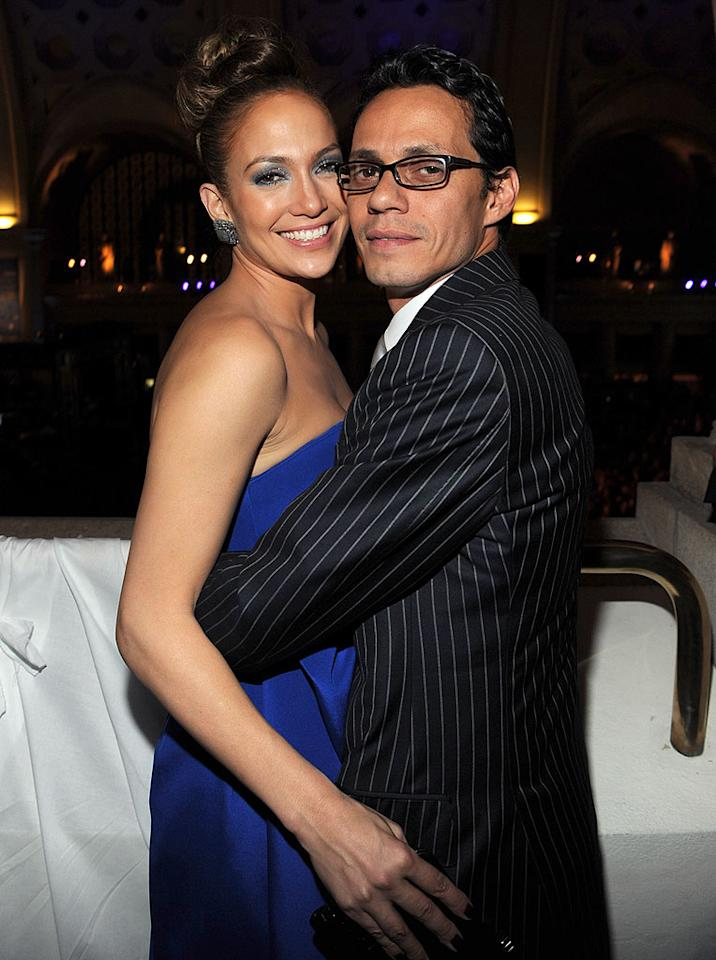 """Jennifer Lopez and Marc Anthony share a smile -- and a hug -- at the presidential inauguration. Kevin Mazur/<a href=""""http://www.wireimage.com"""" target=""""new"""">WireImage.com</a> - January 18, 2009"""