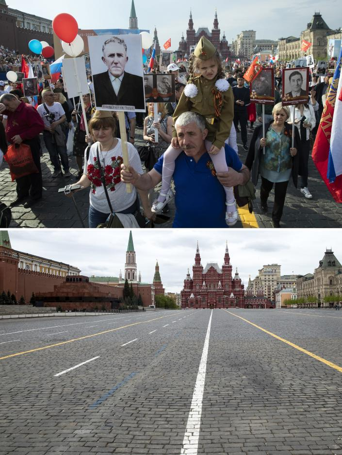 In this two photo combination picture, top photo shows people carry portraits of relatives who fought in World War II, during the Immortal Regiment march through Red Square celebrating 74 years since the victory in WWII in Red Square in Moscow, Russia, on Thursday, May 9, 2019, and bottom photo shows almost empty Red Square during the 75th anniversary of the Nazi defeat in World War II in Moscow, Russia, Saturday, May 9, 2020. Victory Day is Russia's most important secular holiday and this year's observance had been expected to be especially large because it is the 75th anniversary, but the Red Square military parade and a mass procession called The Immortal Regiment were postponed as part of measures to stifle the spread of the virus. (AP Photo/Pavel Golovkin)