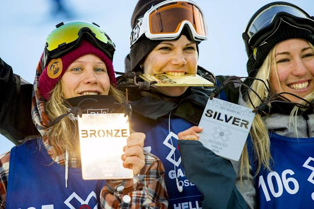 Winner Cheryl Maas from the Netherlands stands with silver medallist Christy Prior from New Zealand and bronze medallist Kjersti Oestgaard Buaas from Norway after the X Games Oslo 2016 Women's Snowboard Big Air event February 27, 2016. REUTERS/Vegard Wivestad Grott/NTB Scanpix ATTENTION EDITORS - THIS IMAGE WAS PROVIDED BY A THIRD PARTY. FOR EDITORIAL USE ONLY. NOT FOR SALE FOR MARKETING OR ADVERTISING CAMPAIGNS. THIS PICTURE IS DISTRIBUTED EXACTLY AS RECEIVED BY REUTERS, AS A SERVICE TO CLIENTS. NORWAY OUT. NO COMMERCIAL OR EDITORIAL SALES IN NORWAY. NO COMMERCIAL SALES.