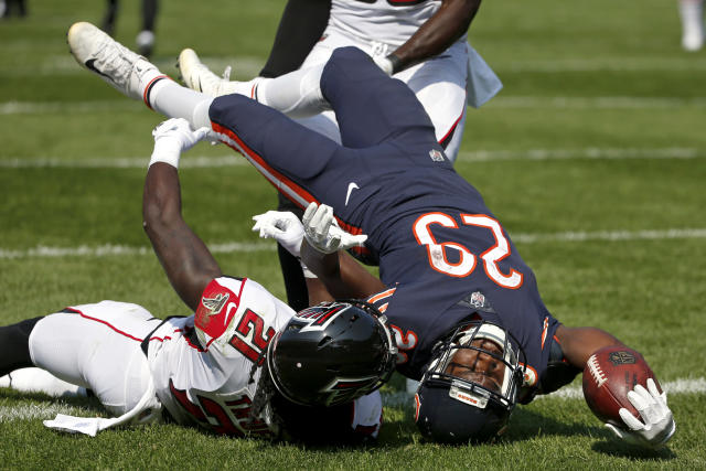 <p>Chicago Bears running back Tarik Cohen (29) dives to the end zone for a touchdown as he is tackled by Atlanta Falcons cornerback Desmond Trufant (21) during the second half of an NFL football game, Sunday, Sept. 10, 2017, in Chicago. (AP Photo/Nam Y. Huh) </p>