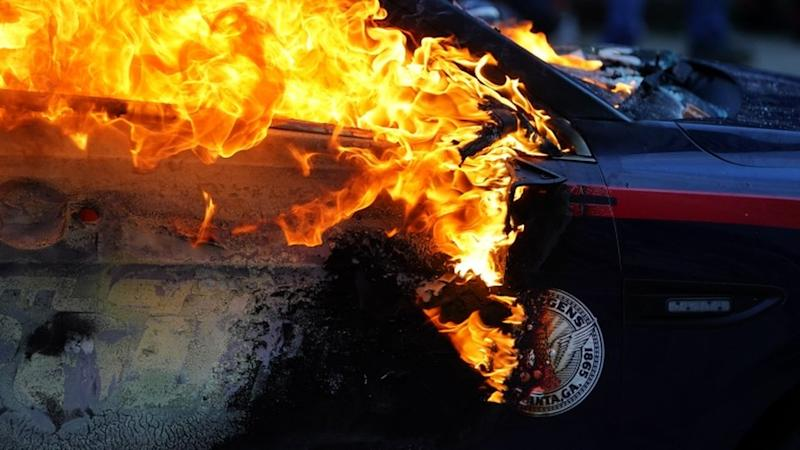 Police car burns in Atlanta