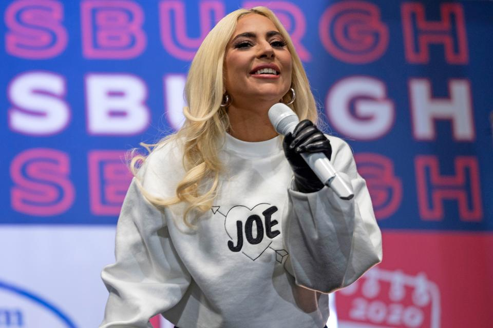 US singer Lady Gaga performs prior to Democratic presidential candidate Joe Biden speaking during a Drive-In Rally at Heinz Field in Pittsburgh, Pennsylvania, on November 2, 2020. (Photo by JIM WATSON / AFP) (Photo by JIM WATSON/AFP via Getty Images)