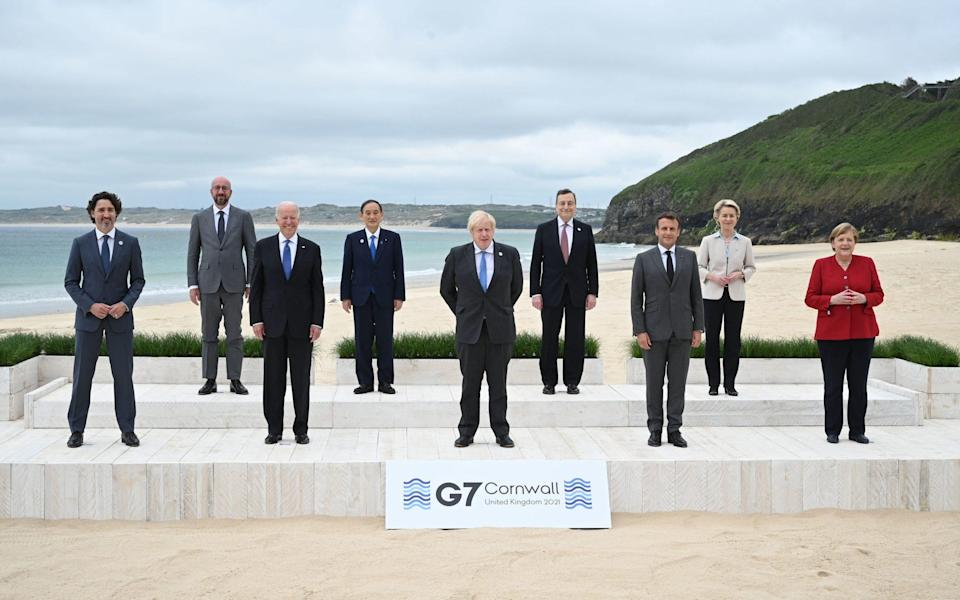 G7 leaders pose in Cornwall - Leon Neal/PA