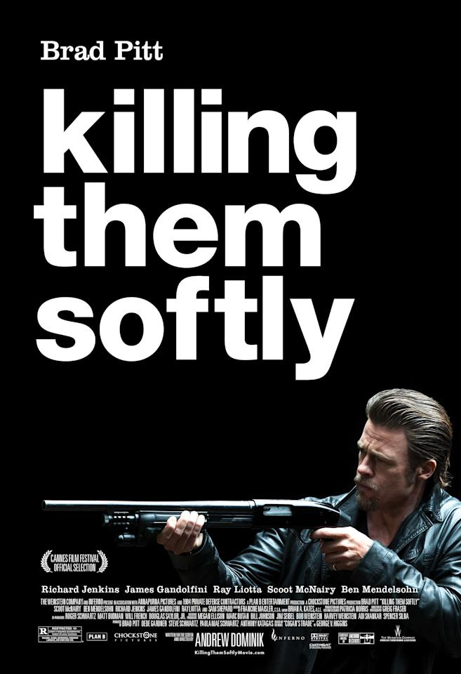<b>The Worst: KILLING THEM SOFTLY</b><br><br>Helvetica! We're impressed with the size of Brad Pitt's weapon, but just a little bit overwhelmed by his font.