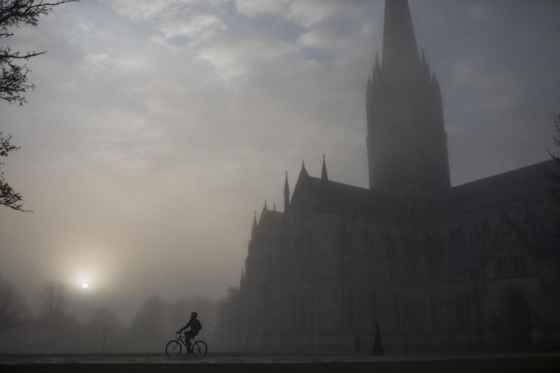 Salisbury Cathedral emerges from a morning fog in town centre, where a man and woman had been found unconscious two days previosly, on March 6, 2018 in Salisbury, England: Dan Kitwood/Getty Images
