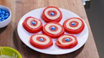 """<p>Even Chris Evans himself would approve of these Captain America cookies, which are made with the help of red food coloring, white chocolate chips, and blue M&Ms.</p><p><strong><em>Get the recipe for <a href=""""https://www.delish.com/cooking/recipe-ideas/a19846070/captain-america-cookies-recipe/"""" rel=""""nofollow noopener"""" target=""""_blank"""" data-ylk=""""slk:Captain America Cookies"""" class=""""link rapid-noclick-resp"""">Captain America Cookies</a>. </em></strong></p>"""