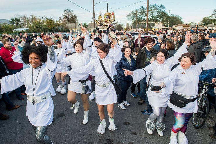 Leijorettes marching group particpates in the Intergalactic Krewe of Chewbacchus' Princess Leia Tribute Parade honoring actress Carrie Fisher (Photo by Erika Goldring/Getty Images)