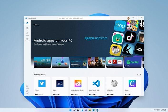 A screenshot of Windows 11 featuring the inclusion of Android apps.