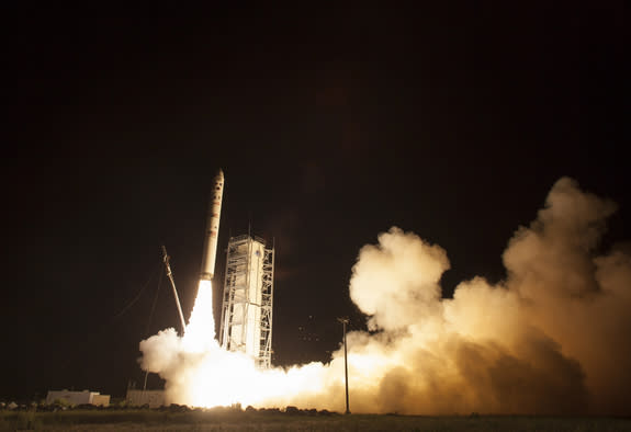 NASA's Lunar Atmosphere and Dust Environment Explorer (LADEE) observatory launches aboard the Minotaur V rocket from the Mid-Atlantic Regional Spaceport (MARS) at NASA's Wallops Flight Facility, Friday, Sept. 6, 2013, in Virginia.