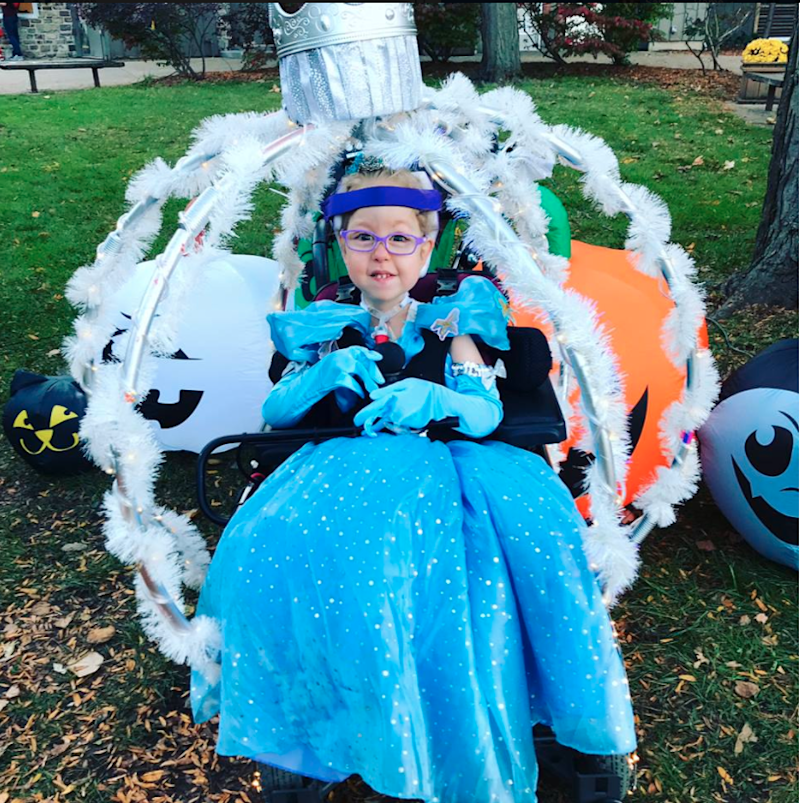 Rosalyn was delighted with her glow-in-the-dark chair. Photo: Facebook/Tiffany Breen