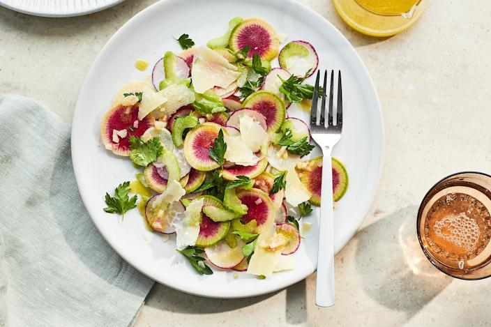 <p>This bright and crispy radish salad with Parmesan is the perfect healthy salad for spring when radishes are at their peak.</p>