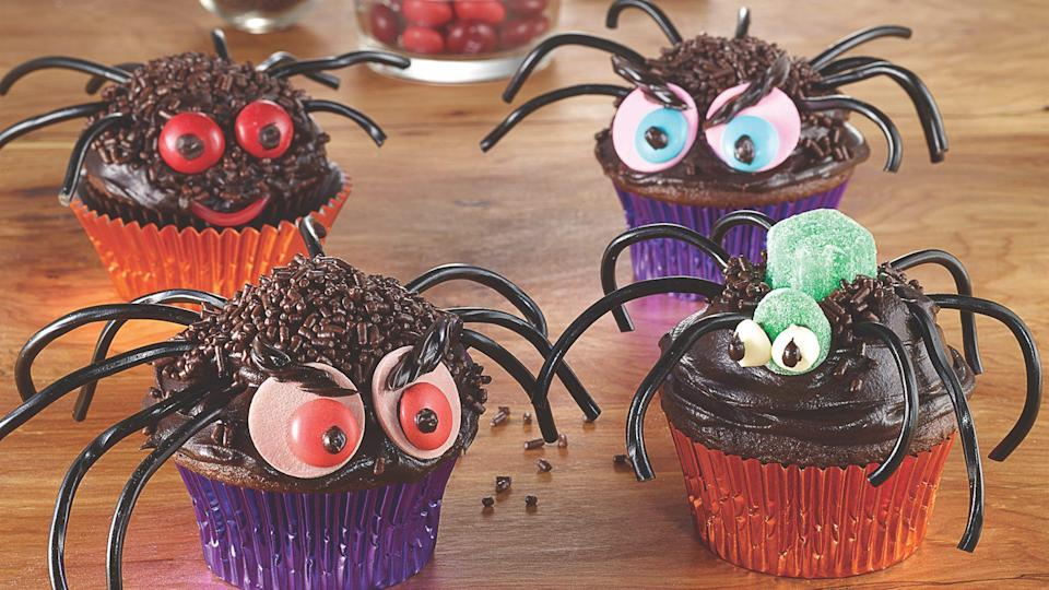 """<p>Spiders are one of <a href=""""https://www.theactivetimes.com/most-dangerous-bugs-in-world?referrer=yahoo&category=beauty_food&include_utm=1&utm_medium=referral&utm_source=yahoo&utm_campaign=feed"""" rel=""""nofollow noopener"""" target=""""_blank"""" data-ylk=""""slk:the most dangerous bugs in the world"""" class=""""link rapid-noclick-resp"""">the most dangerous bugs in the world</a>, but there's nothing to fear with this recipe. Transform your cupcakes into creepy crawlers that are not only fun to make but also delightful to eat.</p> <p><a href=""""https://www.thedailymeal.com/recipes/creepy-crawly-spider-cupcakes-recipe?referrer=yahoo&category=beauty_food&include_utm=1&utm_medium=referral&utm_source=yahoo&utm_campaign=feed"""" rel=""""nofollow noopener"""" target=""""_blank"""" data-ylk=""""slk:For the Creepy Crawly Spider Cupcakes recipe, click here."""" class=""""link rapid-noclick-resp"""">For the Creepy Crawly Spider Cupcakes recipe, click here.</a></p>"""
