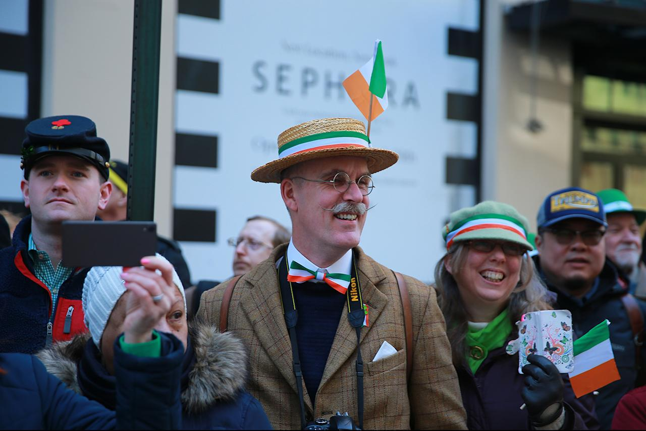 <p>Festive hats on display at the St. Patrick's Day Parade on March 17, 2017, in New York. (Gordon Donovan/Yahoo News) </p>